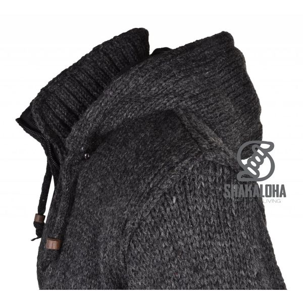 Shakaloha Flash Ziphood Dunkelgrau Anthrazitfarbene Wolljacke mit abnehmbarer Kapuze