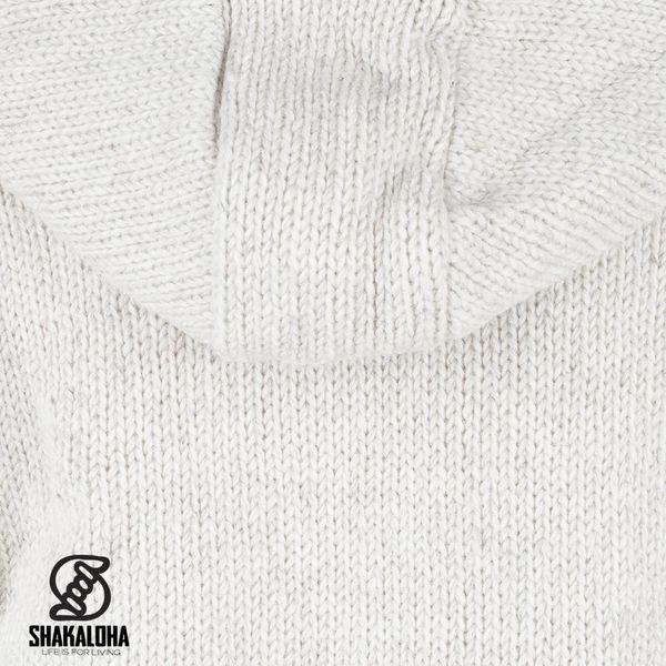Shakaloha Flash Ziphood Beige -Creme, fleece gevoerde wollen jas met afristbare capuchon