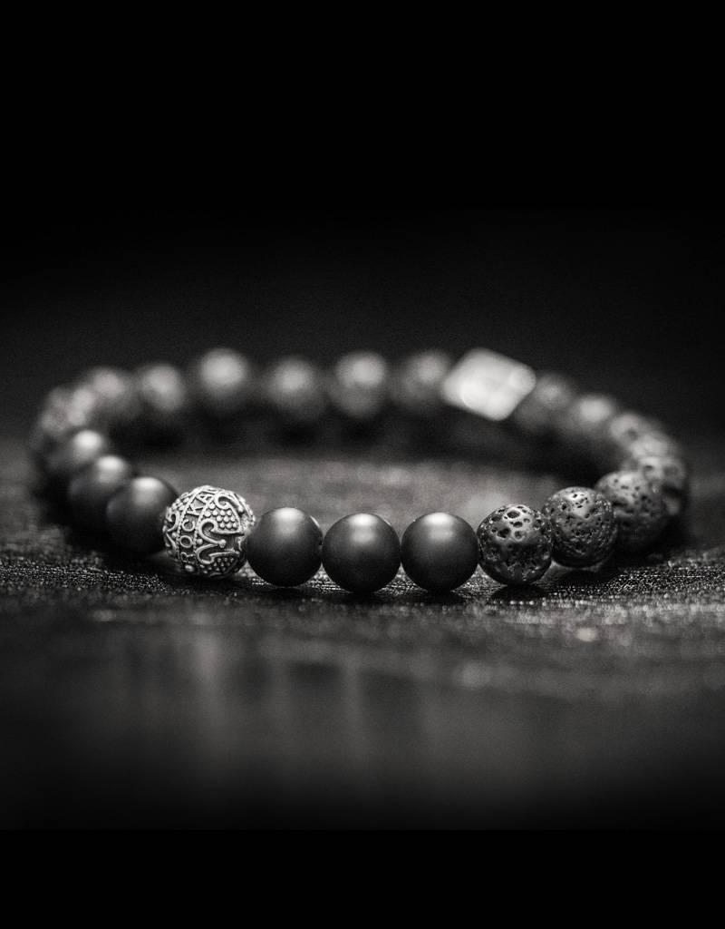 "Armband ""Blackended Mat"" - Vulkan / Onyx matt / 935er Silber"
