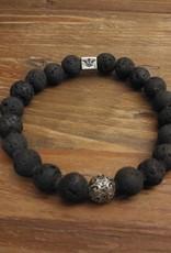 """Armband """"Blackened Raw"""" - Vulkan / 935er Silber"""