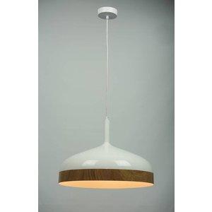 Licht & Wonen Hanglamp Moondrop Wit met hout 45 cm