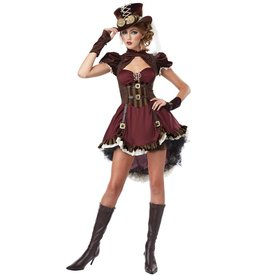 California Costumes Steampunk dame bordeaux rood/bruin