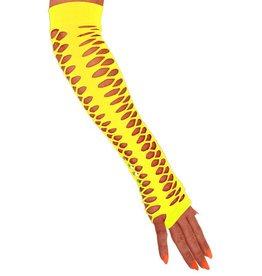 Handschoenen vingerloos grote gaten fluor geel 40 cm