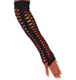 Handschoenen vingerloos grote gaten zwart 40 cm