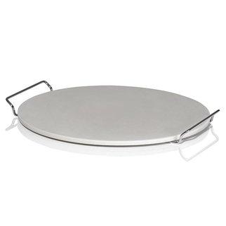 De KLAUWE BBQ pizzasteen met handvatframe (38 cm)