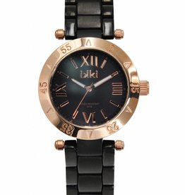 Uitverkoop IKKI Daisy black/rose gold horloge D18M