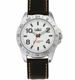 Uitverkoop IKKI Jack dark brown / white horloge JK-05 heren