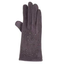 Uitverkoop Grijze faux suede handschoenen met hematiet kristallen