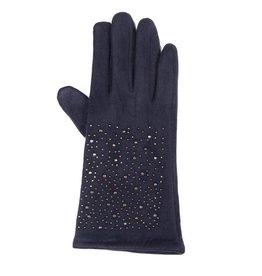 Uitverkoop Blauwe  faux suede handschoenen met hematiet kristallen