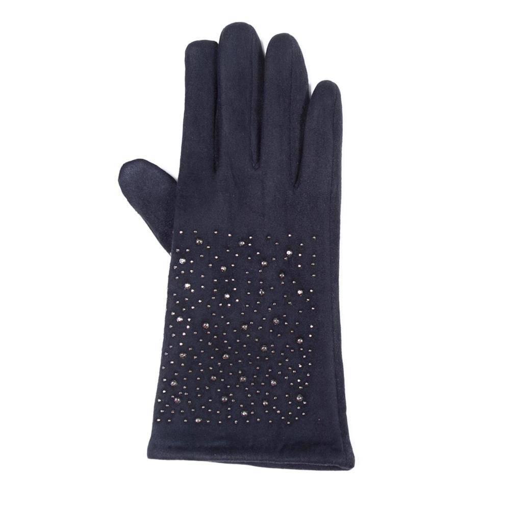 Tantrend blauwe faux suede handschoenen met hematiet kristallen