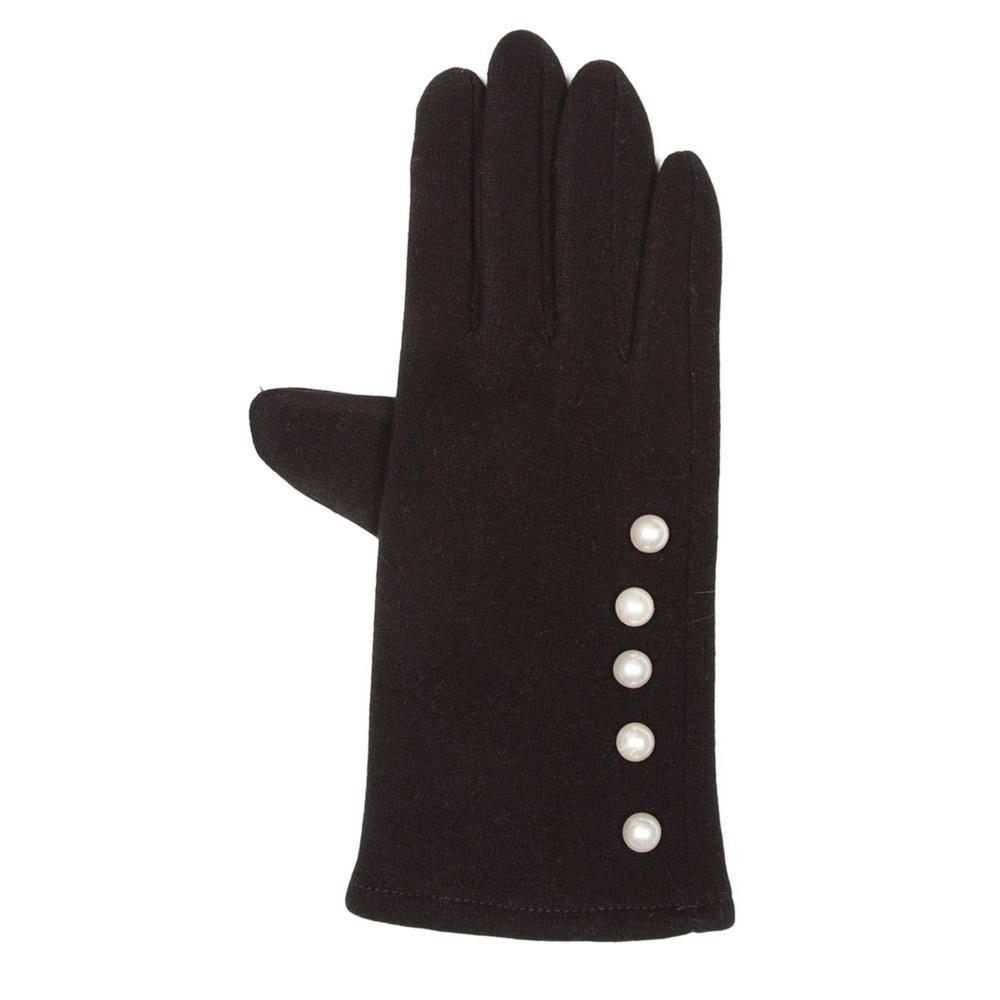 Tantrend Zwarte handschoenen met parelstrip