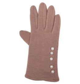 Uitverkoop Beige handschoenen met parelstrip