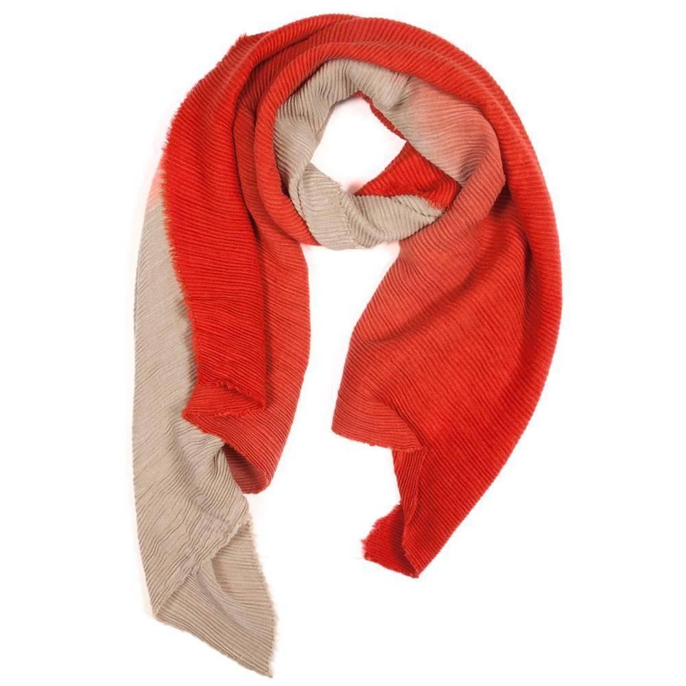 Tantrend Gerimpelde sjaal in degradé kleuren rood en beige