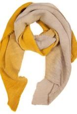 Tantrend Gerimpelde sjaal in dégradé kleuren mosterd en beige