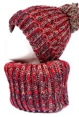 Tantrend Rode infinity sjaal en muts met pompon