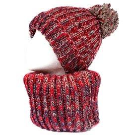 NIEUW Rode infinity sjaal en muts met pompon