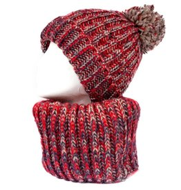 Rode infinity sjaal en muts met pompon