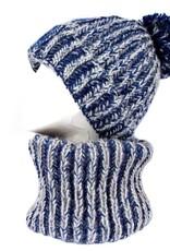 Tantrend Blauwe infinity sjaal en muts met pompon