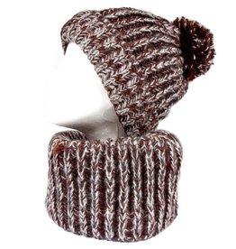 Bruine infinity sjaal en muts met pompon