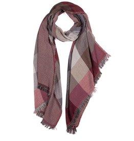 NIEUW Dubbelzijdige bordeaux sjaal met vierkanten motief