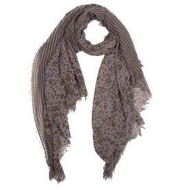 Sjaal met veelkleurige bloemetjes en strepen
