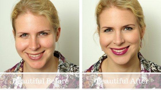 Een mooie naturel look met een felle kleur lipstick.