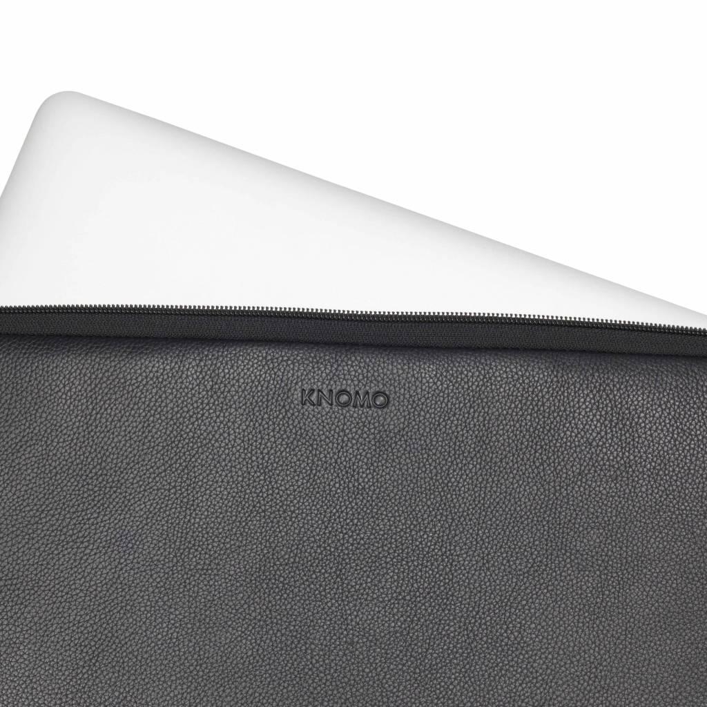 """Knomo Knomo Leren Laptop Sleeve 15"""" Zwart"""