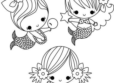 Mermaids coloring page