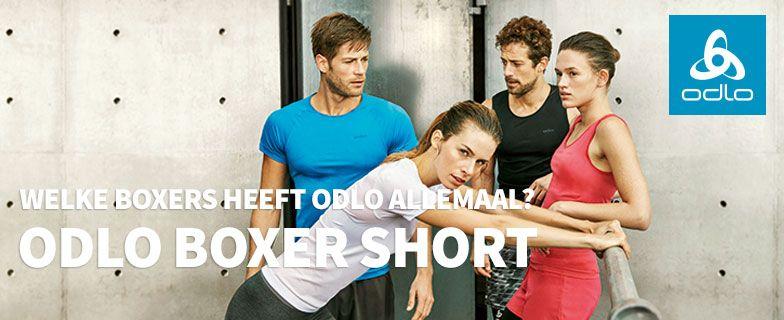 Odlo boxer short, de verschillende Odlo boxershorts op een rij.