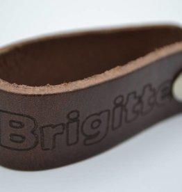 Arrigo bruine echt lederen sleutelhanger met eigen naam of logo