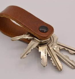 Arrigo Cognac genuine leather keychain