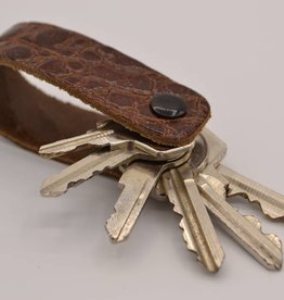 Arrigo Cognac croco genuine leather keychain