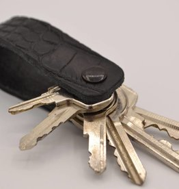 Arrigo Black croco genuine leather keychain
