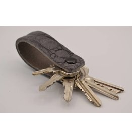 Arrigo Gray croco genuine leather keychain