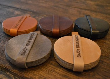 Coasters of genuine leather