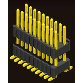 AMTEK Technology Co. Ltd. 5PH4DMX17/25-2XX   Pin Header 1.27mm SQ PIN0.46mm 2 Row H=1.7/2.5mm Stack SMT Type