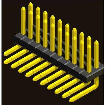 AMTEK Technology Co. Ltd. 5PH3RDX10/15/17/20/25-2XX    Pin Header 1.27mm SQ PIN0.4mm 2 Row H=1.0/1.5/1.7/2.0/2.5mm Right Angle Type