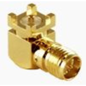 LINX Technologies Inc. RP-SMA Female Right-Angle Surface-Mount Connector, Gold