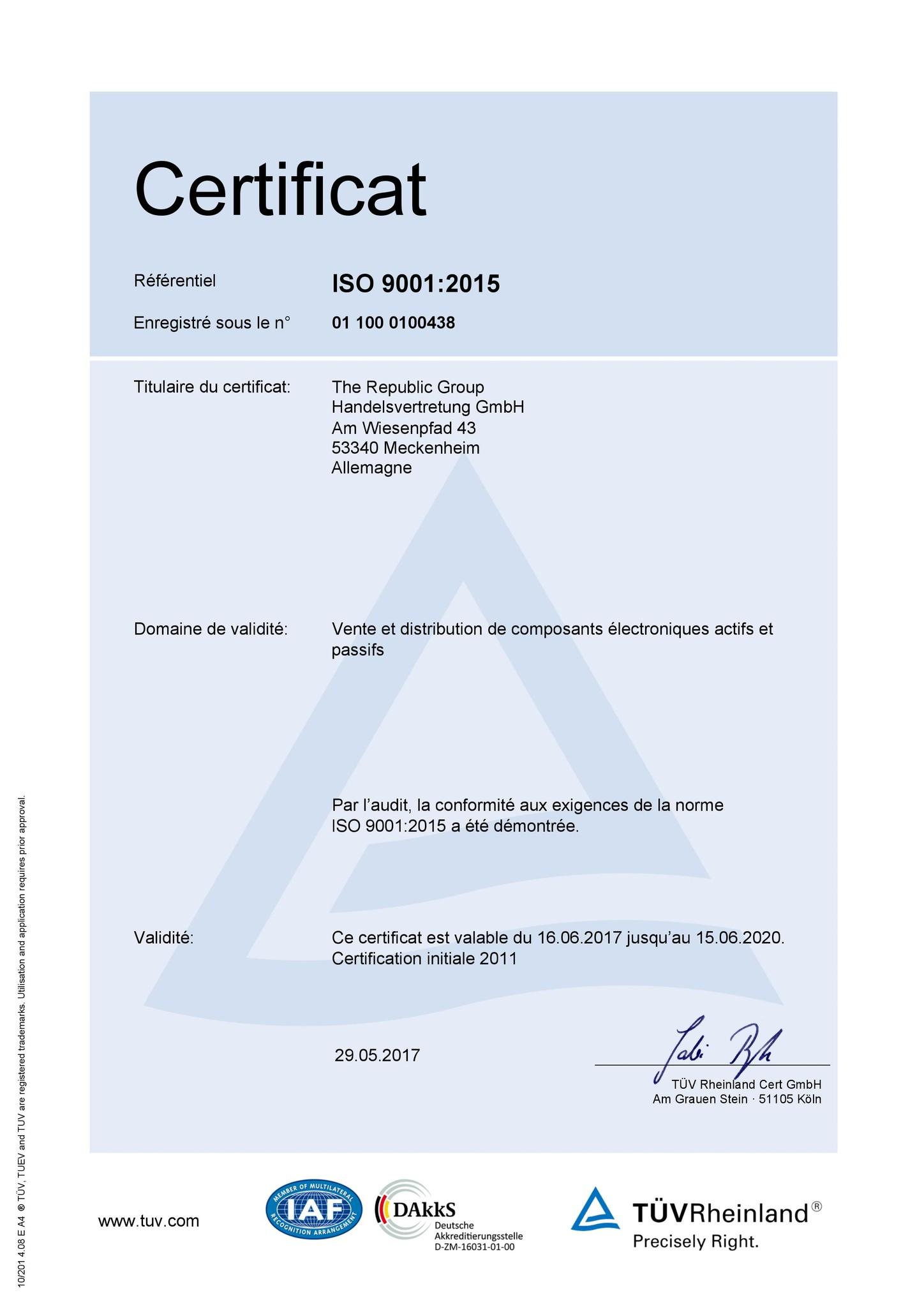 ISO 9001:2015 certificat