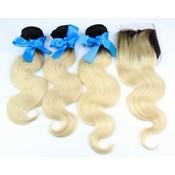 3 Bundle Deal Brazilian blond met 4*4 lace closure