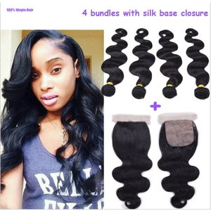 4 bundel deal met silk base closure