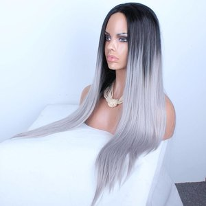 GREY OMBRE LACE WIG SYNTHETISCH (70 CM)