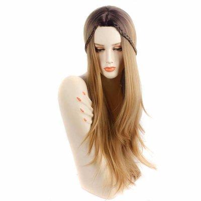 Mooie pruik met lang lichtbruin haar