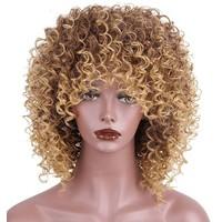 Pruik van synthetisch haar Ombre  gemengd bruin 22 inch
