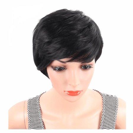 Prachtige beauty pruik met zwart kort haar