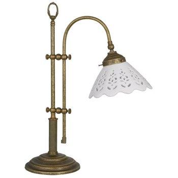 Lampe de table vieux laiton patiné abat-jour en céramique