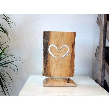 UNIKAT! Holz Tischlampe Led Leuchte Herz