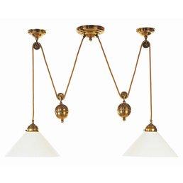 Suspension avec lampe de poids en laiton antique réglable en hauteur