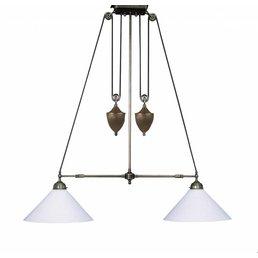 Lampe à suspension avec une hauteur de poids de verre blanc réglable