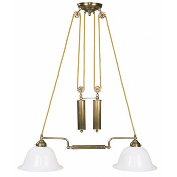 la lumière de la lampe antique en laiton avec contrepoids